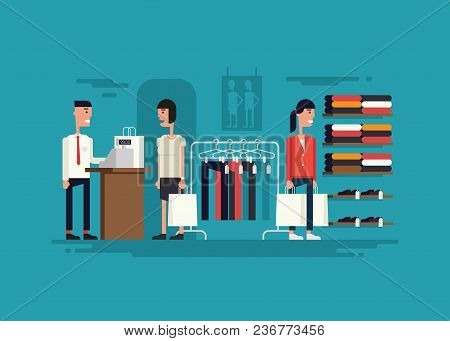 Vector Illustration Of Cartoony Clothing Store. Two Women Walking In The Store With Packages. One Of