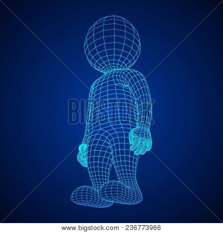 Wireframe low poly vector photo free trial bigstock wireframe low poly mesh human cartoon body in virtual reality medical blueprint scanned 3d model malvernweather Gallery