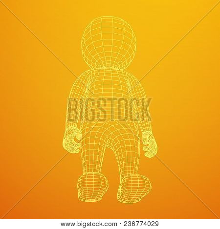 Wireframe low poly mesh human vector photo bigstock wireframe low poly mesh human cartoon body in virtual reality medical blueprint scanned 3d model malvernweather Gallery