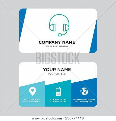 Headphone Business Card Design Template, Visiting For Your Company, Modern Creative And Clean Identi