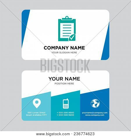 Clipboard Verification Business Card Design Template, Visiting For Your Company, Modern Creative And