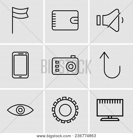 Set Of 9 Simple Editable Icons Such As Television, Gear, Eye, Cancel Button, Photo Camera, Smartphon
