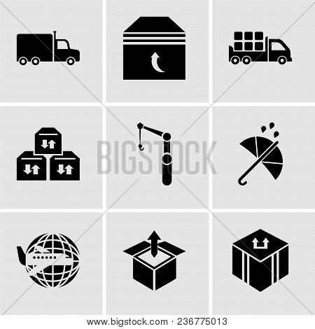 Set Of 9 Simple Editable Icons Such As Delivery Package, Delivery Box Package Opened With Up Arrow,
