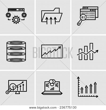 Set Of 9 Simple Editable Icons Such As Mobile Phone Text Data, Laptop Data Analytics On Screen With