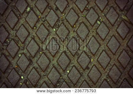 Wet Iron Background, Rusty Texture, Cracked Surface.