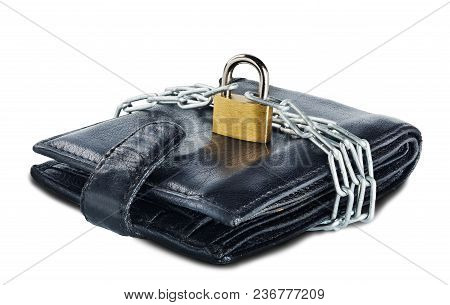 Leather Wallet With Lock And Chain On White Isolated Background. Concept Of Protecting Electronic Mo