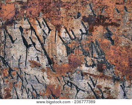 Corroded Metal Texture With Black Paint Smudges, Abstract Grunge Background