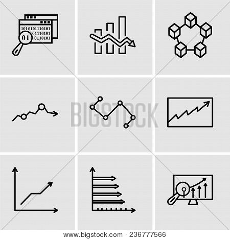 Set Of 9 Simple Editable Icons Such As Analytics Settings, Analytic, Data Analytics Descending, Data