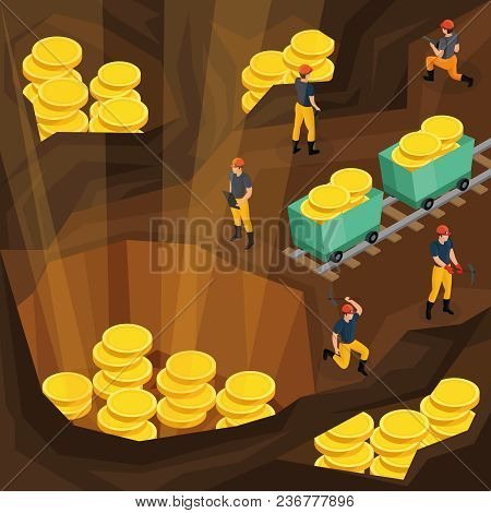 Isometric Mining Industry Concept With Miners Working In Mine And Extracting Gold Coins Symbolising