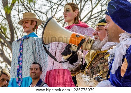 Antigua, Guatemala -  March 9, 2018: Man Dressed Up As Colonial Spaniard Announces Dance Of Traditio