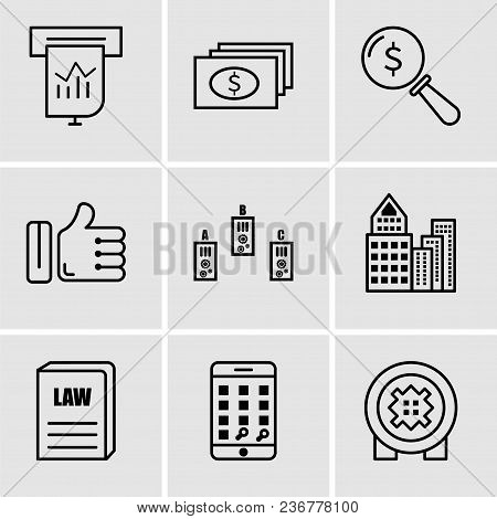 Set Of 9 Simple Editable Icons Such As Bank Safe, Telephone, Law Book, Building, Folder, Like, Lens,