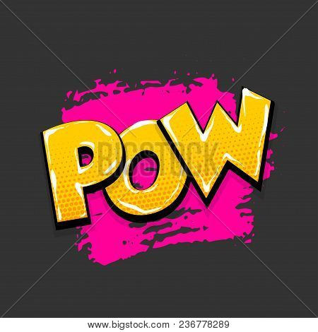 Pow Bang Boom Hand Drawn Pictures Effects. Template Comics Grunge Speech Bubble Brush Halftone Dot B
