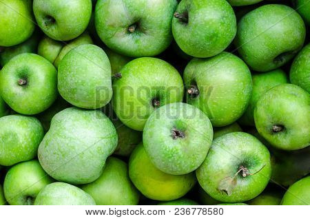 A Lot Of Green Apples On The Whole Frame