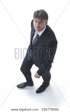 Top view confident businessman goes forward.