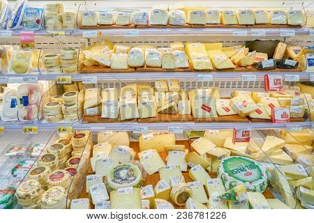 ROME, ITALY - CIRCA NOVEMBER 2017: cheese on display in a grocery store in Rome.