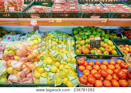 ROME, ITALY - CIRCA NOVEMBER 2017: food on display in a grocery store in Rome.