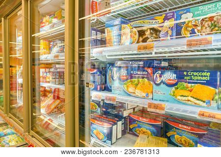 ROME, ITALY - CIRCA NOVEMBER 2017: food at fridge in a grocery store in Rome.