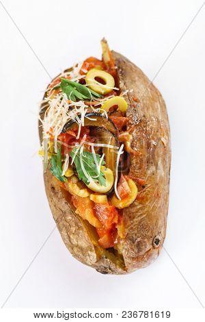 baked potato on white