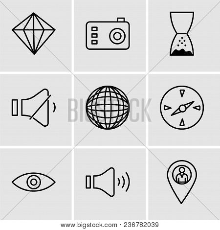 Set Of 9 Simple Editable Icons Such As Location Pointer, Mute Speakers, Eye, Compass, International