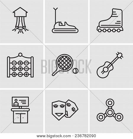Set Of 9 Simple Editable Icons Such As Drone, Theater, Tv, Guitar, Table Tennis, Tic Tac Toe, Roller