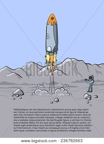 Vector Illustration Of Space Rocket Launch And Astronaut Photo On Planet. Planet Exploration Concept