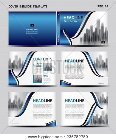 Blue Cover Design And Inside Template For Magazine, Ads, Presentation, Annual Report, Book, Leaflet,
