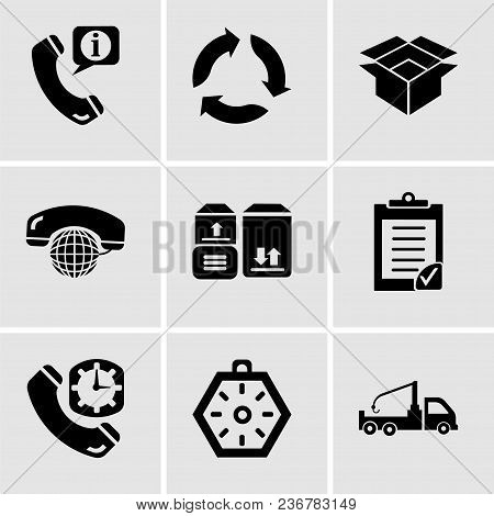 Set Of 9 Simple Editable Icons Such As Crane Truck, Localization Orientation Tool Of Compass With Ca