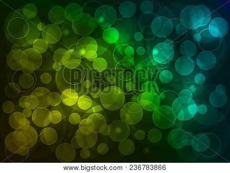 Bokeh Deep Abstract Vector Illustration With Point Ligh In Yellow, Green, Blue Tones