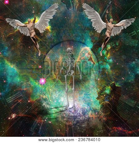 Surrealism. Figure of man walks on a stone road in the space. Naked men with wings symbolizes angels. Skeleton represents death. 3D rendering. Some elements provided courtesy of NASA.