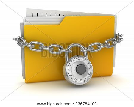 Locked Yellow Folder , This Is A 3d Rendered Computer Generated Image. Isolated On White.