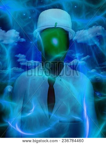 Man in white suit with face hidden by green apple. 3D rendering