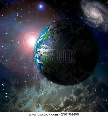 Sun rise over Planet Earth in space. 3D rendering
