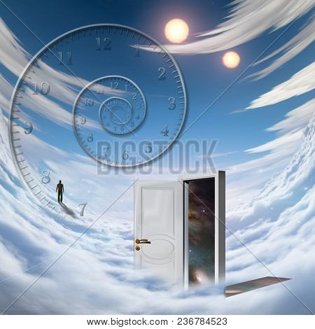 Surrealism. Spiral of time. Lonely man in a distance. Opened door to another dimension. 3D rendering