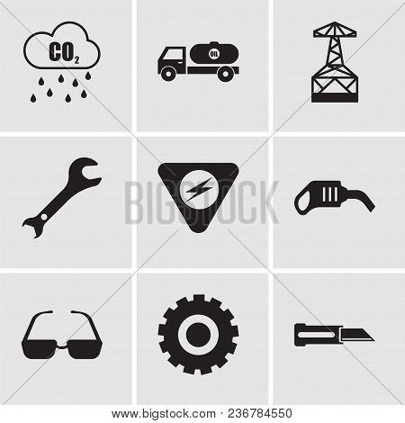 Set Of 9 Simple Editable Icons Such As Knife, Setting, Sunglasses, Pump, Danger, Adjustable Wrench,