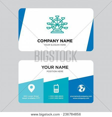Ferris Wheel Business Card Design Template, Visiting For Your Company, Modern Creative And Clean Ide
