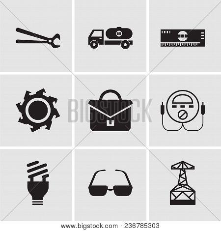 Set Of 9 Simple Editable Icons Such As Oil Derrick, Sunglasses, Lightbulb, Energy Check, Portfolio,