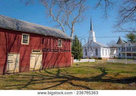 Englishtown, New Jersey - April 14 - A Scenic View Of A Barn And Church Near The Historic Village In
