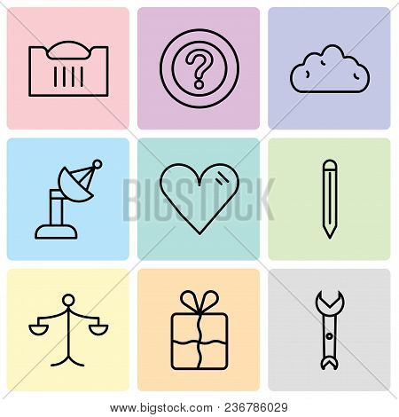 Set Of 9 Simple Editable Icons Such As Wrench, Bookmark, Weighing Scale, Edit Tool, Heart, Satellite