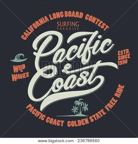 Surfing T-shirt Graphic Design. Surfers Print Stamp. California Surf Wear Typography Emblem. Creativ