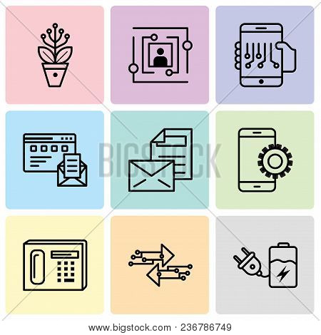 Set Of 9 Simple Editable Icons Such As Battery, Transfer, Phone, Setup, Mail, Browser And Mail, Smar