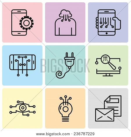 Set Of 9 Simple Editable Icons Such As Mail, Idea, Analysis, Monitor, Plug, Smartphone, Smartphone,