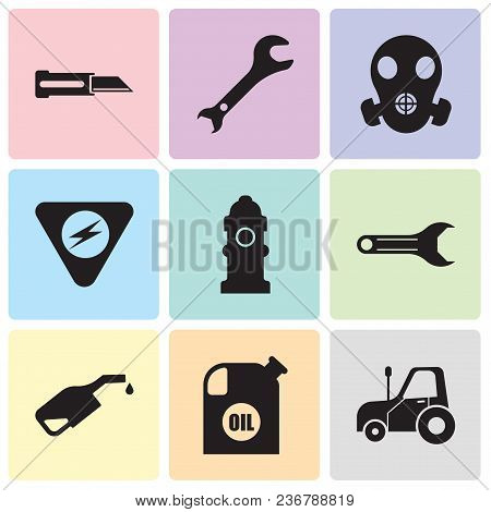 Set Of 9 Simple Editable Icons Such As Autotruck, Oil Container, Pump, Adjustable Wrench, Fire Hydra