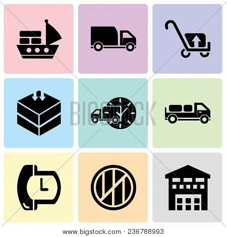 Set Of 9 Simple Editable Icons Such As Boxes Piles Sto Inside A Garage For Delivery, Wood Package Bo