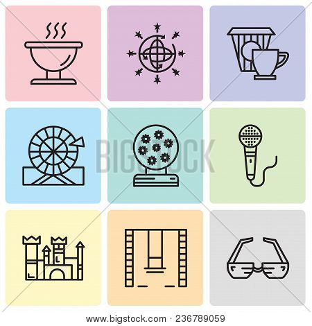 Set Of 9 Simple Editable Icons Such As 3d Glasses, Swings, Castle, Microphone, Magic Ball, Wheel, Co