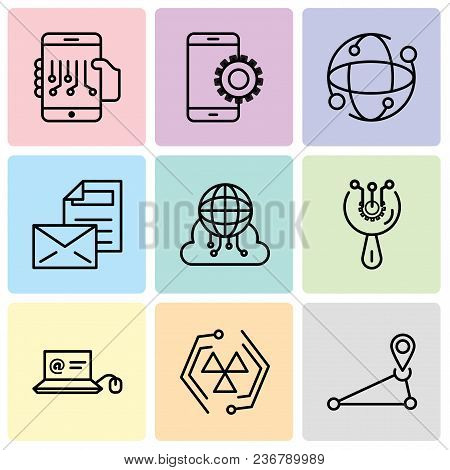 Set Of 9 Simple Editable Icons Such As Pin, Cells, Mail In Laptop, Access, Cloud Computing, Mail, Ea
