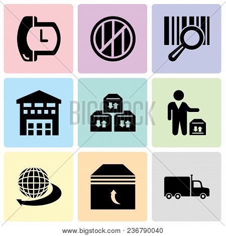 Set Of 9 Simple Editable Icons Such As Frontal Truck, Box Of Packing For Delivery, International Del