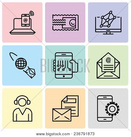Set Of 9 Simple Editable Icons Such As Setup, Mail, Support, Email, Smartphone, Email Planet, Hologr