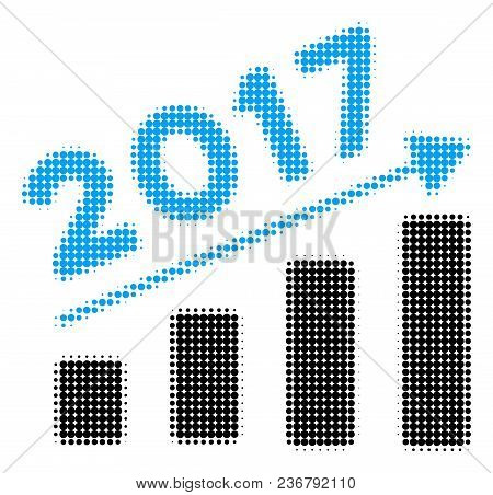2017 Bar Chart Trend Halftone Vector Icon. Illustration Style Is Dotted Iconic 2017 Bar Chart Trend