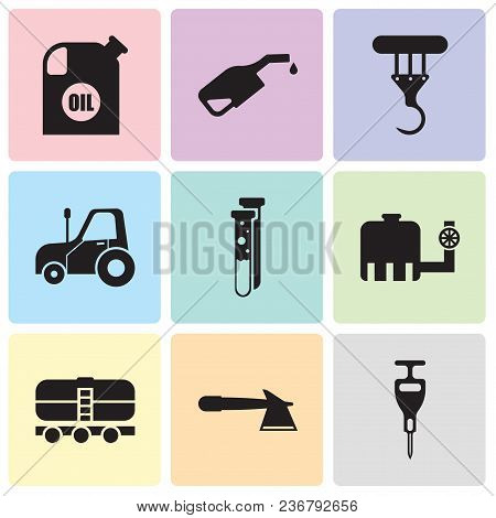 Set Of 9 Simple Editable Icons Such As Puncher, Hatchet, Train, Water Tank, Capsule, Autotruck, Cran
