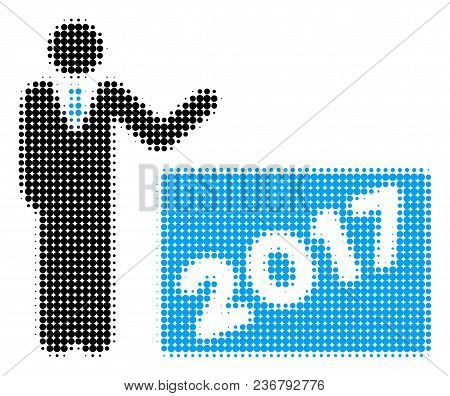 2017 Showing Man Halftone Vector Icon. Illustration Style Is Dotted Iconic 2017 Showing Man Icon Sym